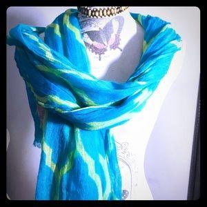 """Scarf 78"""" length fab boho design Ann Taylor, light"""
